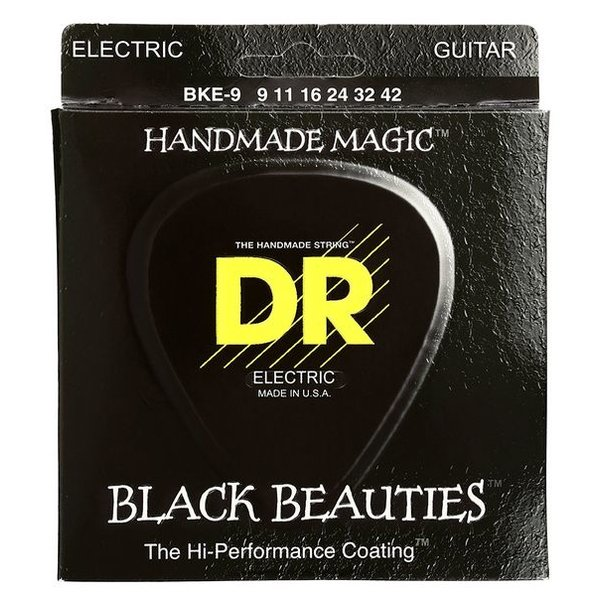 DR Handmade Strings DR Strings BKE-9 Light-Tight BLACK BEAUTIES Coated Elec: 9, 11, 16, 24, 32, 42