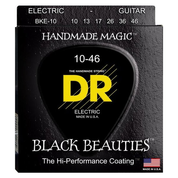 DR Handmade Strings DR Strings BKE-10 Med BLACK BEAUTIES Coated Electric: 10, 13, 17, 26, 36, 46