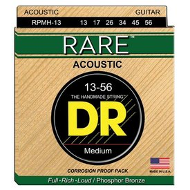 DR Handmade Strings DR Strings RPMH-13 Medium RARE Phosphor Bronze Acoustic: 13, 17, 26, 34, 45, 56
