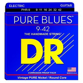 DR Handmade Strings DR Strings PHR-9 Light PURE BLUES Pure Nickel Electric: 9, 11, 16, 24, 32, 42