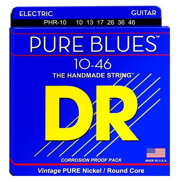 DR Handmade Strings DR Strings PHR-10 Medium PURE BLUES Pure Nickel Electric: 10, 13, 17, 26, 36, 46