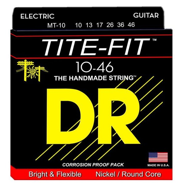 DR Handmade Strings DR Strings MT-10 Med Tite-Fit Nickel Plated Electric: 10, 13, 17, 26, 36, 46