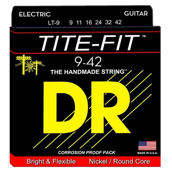 DR Handmade Strings DR Strings LT-9 Light Tite-Fit Nickel Plated Electric: 9, 11, 16, 24, 32, 42