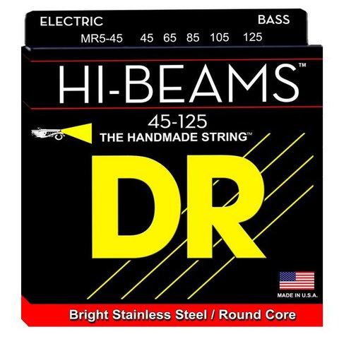 DR Strings MR5-45 Medium 5's HI-BEAM  - Stainless Steel: 45, 65, 85, 105, 125