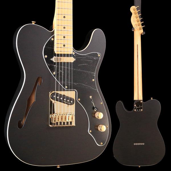 Fender Fender Ltd. Ed. Deluxe Tele Thinline, Maple FB, Satin Black w/ Gold HW S/N MX18182538 6lbs 7.8oz