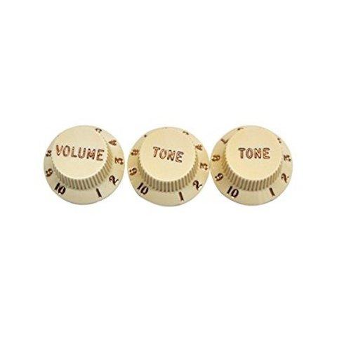 Stratocaster Knobs, Aged White (Volume, Tone, Tone) (3)