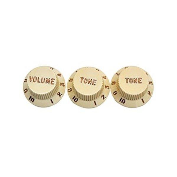 Fender Stratocaster Knobs, Aged White (Volume, Tone, Tone) (3)