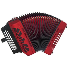 Hohner Hohner COGR-N Compadre GCF Accordion Red w Bag - Silver Grille Diatonic Keys