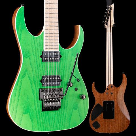 Ibanez RGR5220MTFG RG Prestige 6str Electric Guitar w/Case - Transp Flrscnt Green S/N F1915457 8lbs