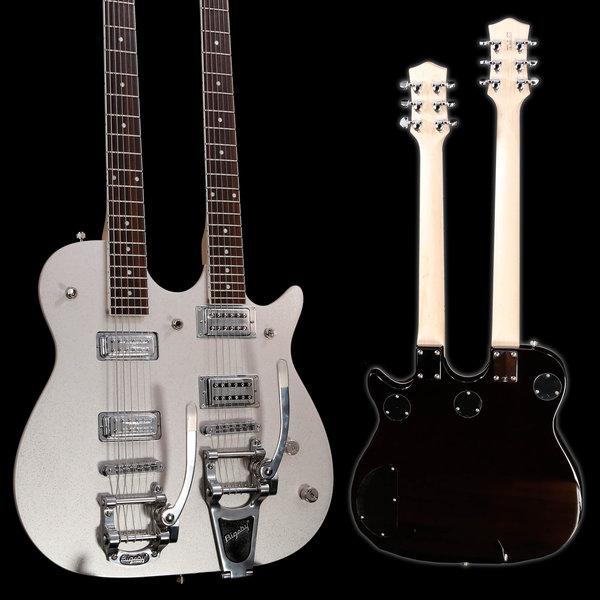 Gretsch Guitars Gretsch G5265 Electromatic Jet Double Neck w Bigsby Silver Sparkle S/N CYG19041787 13lbs 12.2oz