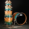 DW Drum Workshop Collector's Series 12'' 16'' 24'' Candy Regal Blue Fade Quilted Moabi w Gold Hrdwre