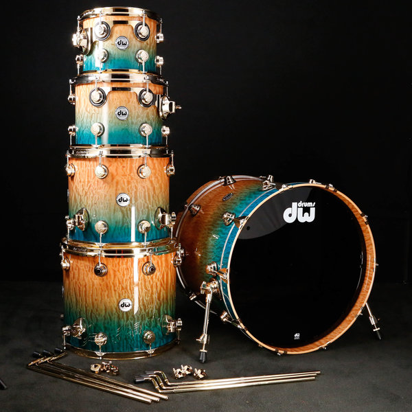 DW DROPSHIP DW Drum Workshop Collector's Series 12'' 16'' 24'' Candy Regal Blue Fade Quilted Moabi w Gold Hrdwre