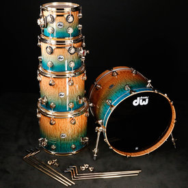 "DW DROPSHIP DW Drum Workshop Collector's Series 10"" 12'' 14"" 16'' 22'' Candy Regal Blue Fade Quilted Moabi w Gold"