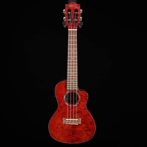 Lanikai Quilted Maple Red Stain Concert with Kula Preamp A/E Ukulele
