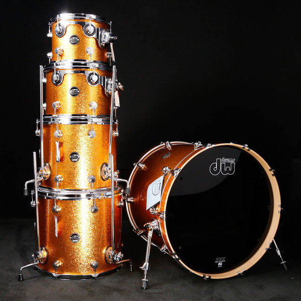 DW DROPSHIP DW Drum Workshop Performance Series 5 pc shell pk Gld Sparkle 8x10 ,9x12 ,12x14, 14x16, 18x22 - Demo