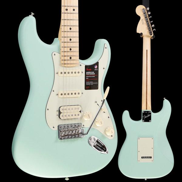 Fender Fender American Performer Strat HSS, Maple Fingerboard, Satin Surf Green S/N US19080277 7lbs 10.1oz