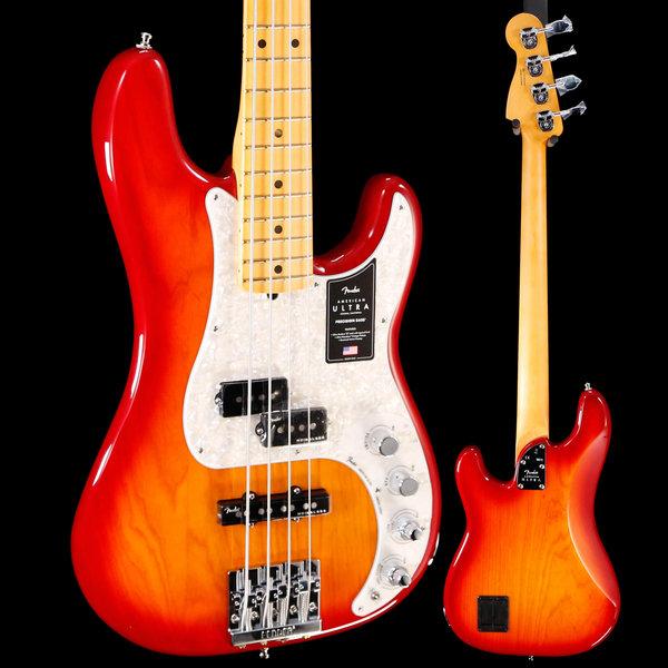 Fender Fender American Ultra Precision Bass Maple Fb, Plasma Red US19078983 8lbs 9.4oz