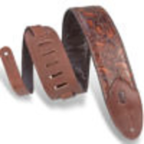 """Levy's M4WP-006 3"""" Wide Embossed Leather Guitar Strap"""