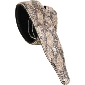 """Levy's Leathers Levy's PC17MS-PLT 2.5"""" Leather Guitar Strap with Metallic Snakes Platinum"""