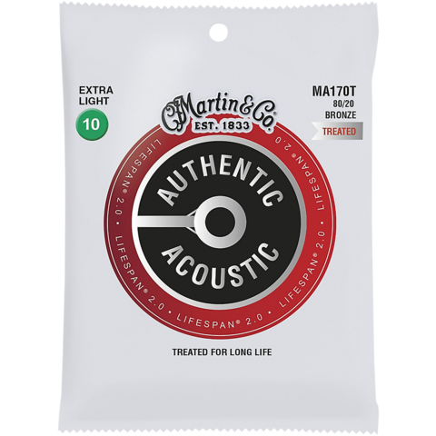 Martin MA170T 80/20 Authentic Acoustic Strings Extra Light Treated 10-47