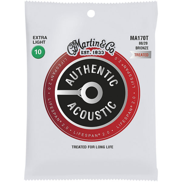 Martin Martin MA170T 80/20 Authentic Acoustic Strings Extra Light Treated 10-47