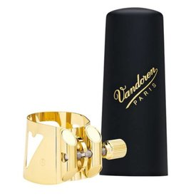 Vandoren Vandoren Optimum Ligature & Plastic Cap for Mtl Tenor Sax Gilded; 3 Interchangeable Pressure Plates