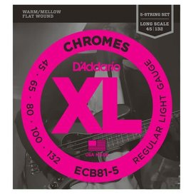 D'Addario D'Addario ECB81-5 5-String Bass Guitar Strings, Light, 45-132, Long Scale
