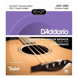 D'Addario D'Addario Coated Phos Bronze Acoustic Bass Strings - Taylor GS Mini Scale, 37-90