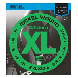 D'Addario D'Addario EXL220-5 5-String Nickel Wound Bass, Super Light, 40-125, Long Scale