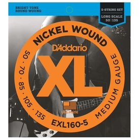 D'Addario Fretted D'Addario EXL160-5 5-String Nickel Wound Bass Strings, Medium 50-135, Long Scale