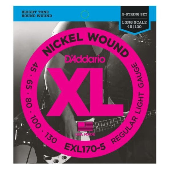 D'Addario Fretted D'Addario EXL170-5 5-String Nickel Wound Bass Strings, Light, 45-130, Long Scale