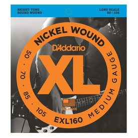 D'Addario Fretted D'Addario EXL160 Nickel Wound Bass Guitar Strings, Medium, 50-105, Long Scale