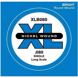 D'Addario D'Addario XLB080 Nickel Wound Bass Guitar Single String, Long Scale, .080