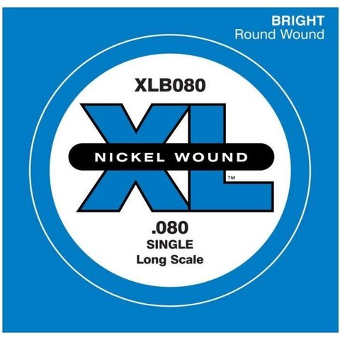 D'Addario XLB080 Nickel Wound Bass Guitar Single String, Long Scale, .080