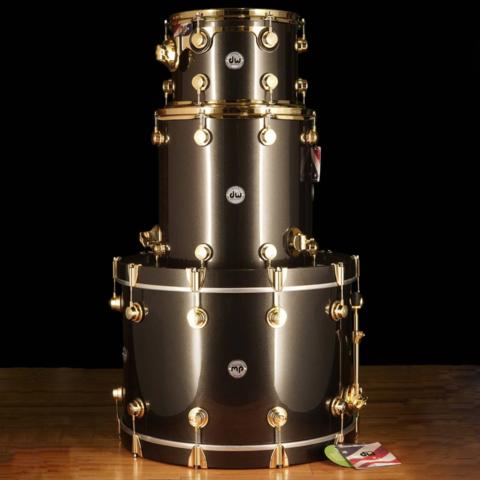 """DW Drum Workshop Collector's Series 12"""" 16"""" 24"""" Black w/ Gold Hardware - Demo"""