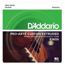 D'Addario D'Addario EJ65S Pro-Art Custom Extruded Ukulele, Soprano, Clear Nylon, Non-Ball