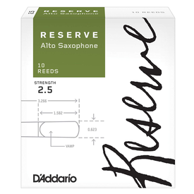 D'Addario Woodwinds (Previously Rico) D'Addario Reserve Alto Saxophone Reeds, Strength 2.5, 10-pack