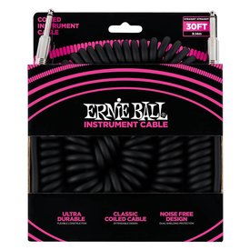 Ernie Ball 6044 Ernie Ball 30 Ft. Coil Cable Straight / Straight Black Jacket Pink Sleeve