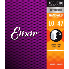 Elixir Elixir Strings Nanoweb 80/20 Acoustic Guitar Strings .010-.047 Light 12-String