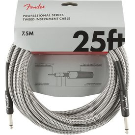 Fender Fender Professional Series Instrument Cable, 25', White Tweed