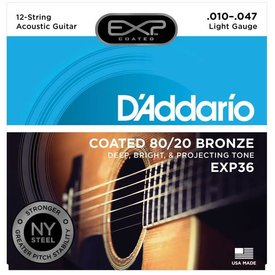 D'Addario D'Addario EXP36 Coated 80/20 Bronze 12-String Acoustic Strings, Light, 10-47