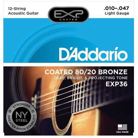 D'Addario EXP36 Coated 80/20 Bronze 12-String Acoustic Strings, Light, 10-47