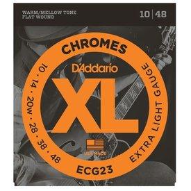 D'Addario Fretted D'Addario ECG23 Chromes Flat Wound Electric Guitar Strings, Extra Light, 10-48