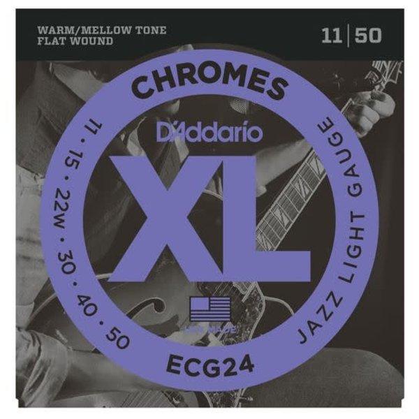 D'Addario Fretted D'Addario ECG24 Chromes Flat Wound Electric Guitar Strings, Jazz Light, 11-50