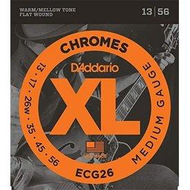 D'Addario Fretted D'Addario ECG26 Chromes Flat Wound Electric Guitar Strings, Medium, 13-56