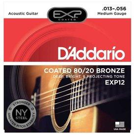 D'Addario D'Addario EXP12 Coated 80/20 Bronze Acoustic Guitar Strings, Medium, 13-56