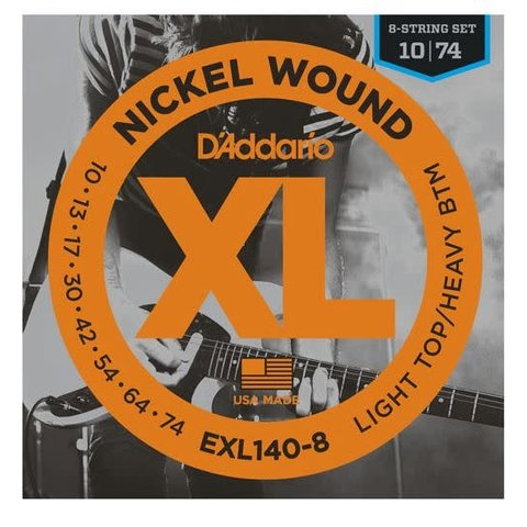D'Addario EXL140-8 8-String Nickel Wound Electric, Light Top/Heavy Bottom, 10-74