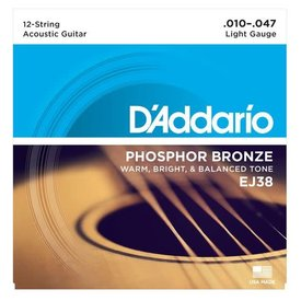 D'Addario D'Addario EJ38 12-String Phosphor Bronze Acoustic Guitar Strings, Light, 10-47
