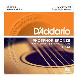 D'Addario D'Addario EJ41 12-String Phosphor Bronze Acoustic Strings, Extra Light, 9-45