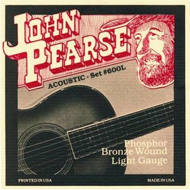 John Pearse John Pearse JP600L Acoustic Guitar Strings, Phosphor Bronze, Lite 12-53
